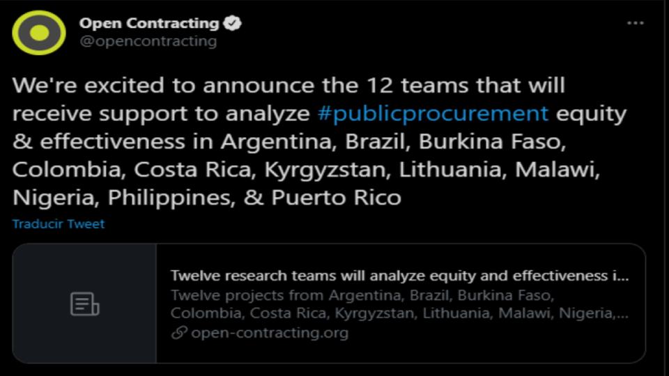 Tweet publicado en la cuenta oficial de Open Contracting Partnership